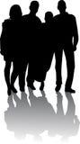Silhouet van jonge mensen Royalty-vrije Stock Afbeelding