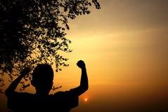 Silhouet van jongen het letten op bij zonsondergang Stock Foto