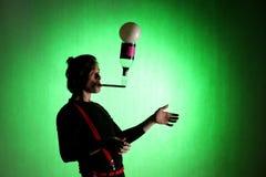 Silhouet van juggler royalty-vrije stock fotografie