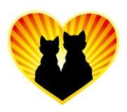Silhouet van katten in liefde Royalty-vrije Stock Afbeeldingen