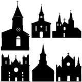 Silhouet van kerk vectorart. Stock Afbeelding
