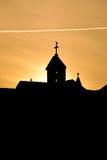 Silhouet van kerktorens royalty-vrije stock fotografie