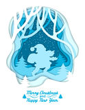 Silhouet van Kerstman op de winter bosachtergrond Het van letters voorzien Vrolijke Kerstmis en Gelukkig Nieuwjaar Kleurrijke doc Stock Afbeelding