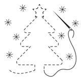 Silhouet van Kerstmisboom met onderbroken contour Vectorillustratie van het met de hand gemaakte werk met borduurwerkdraad en naa royalty-vrije illustratie