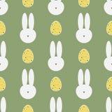 Silhouet van konijn` s hoofd en geschilderde eieren Het naadloze patroon van Pasen Stock Foto