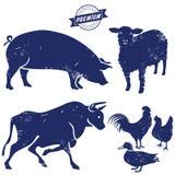 Silhouet van landbouwbedrijfdieren Royalty-vrije Stock Foto's