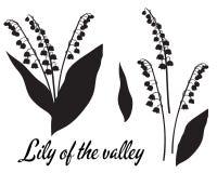 Silhouet van lilly van de valleibloem royalty-vrije illustratie