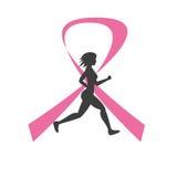 Silhouet van lopende vrouw en roze lint Stock Foto's