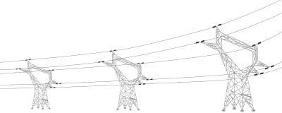 Silhouet van machtslijnen en elektrische pylonen Royalty-vrije Stock Afbeeldingen