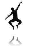 Silhouet van mannelijke danser Stock Afbeelding