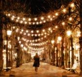 Silhouet van meisje die 's nachts steeg lopen royalty-vrije illustratie