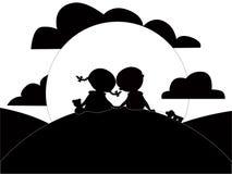 Silhouet van meisje en jongen vector illustratie