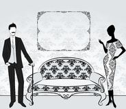 Silhouet van meisje met de mens. Royalty-vrije Stock Foto