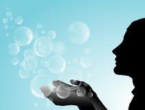 Silhouet van meisje met zeepbels royalty-vrije illustratie