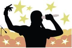 Silhouet van mens het zingen Stock Afbeeldingen