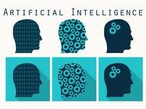 Silhouet van menselijk hoofd Kunstmatige intelligentie, hoofd met gea royalty-vrije illustratie