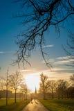 Silhouet van mensen die naar zonsondergang lopen Stock Afbeeldingen