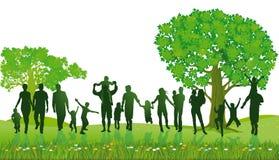 Silhouet van mensen in park stock illustratie