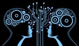 Silhouet van mensen` s hoofd met motherboard en de toestellen Stock Foto's