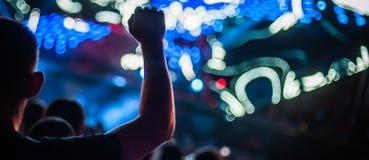 Silhouet van mensenhanden en wapens bij de partij van het overlegfestival stock fotografie
