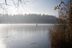 Silhouet van mensenijs schaatsen geïsoleerd op bevroren meer in direct zonlicht stock foto