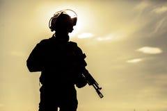 Silhouet van militair Royalty-vrije Stock Fotografie