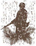 Silhouet van militair in actie stock illustratie