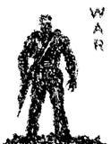 Silhouet van militair met geweer die neer richten Vector illustratie vector illustratie