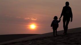 Silhouet van moeder die haar hand van het babykind houden en vanaf camera gaan stock footage