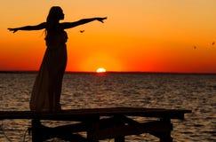 Silhouet van mooi meisje Royalty-vrije Stock Foto's