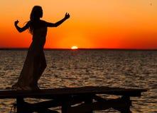 Silhouet van mooi meisje Royalty-vrije Stock Foto