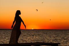 Silhouet van mooi meisje Stock Fotografie