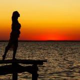 Silhouet van mooi meisje Stock Afbeelding