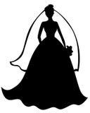 Silhouet van mooie bruid Stock Fotografie