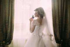 Silhouet van mooie bruid in traditionele witte die huwelijkskleding, door venster wordt bevonden Stock Foto