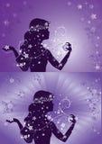Silhouet van mooie vrouw die parfum gebruiken Stock Afbeelding