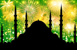 Silhouet van moskee royalty-vrije stock foto