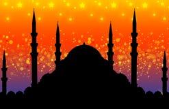 Silhouet van moskee vector illustratie