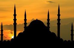 Silhouet van moskee royalty-vrije stock afbeelding