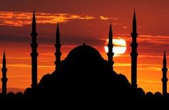 Silhouet van moskee stock fotografie