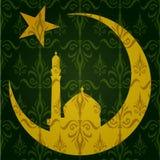 Silhouet van Moskee of Masjid op maan met sterren op abstracte groene achtergrond, concept voor Moslim communautaire heilige maand vector illustratie