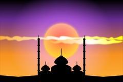 Silhouet van moskees bij zonsondergang stock illustratie