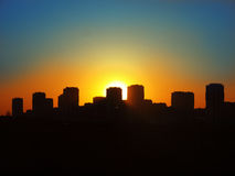 Silhouet van nachtstad Stock Afbeelding