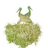 Silhouet van ooievaars in het nest vector illustratie