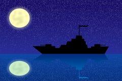 Silhouet van oorlogsschip bij nacht stock illustratie