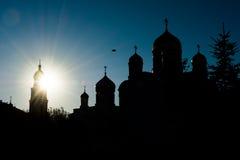 Silhouet van orthodoxe kerken Stock Fotografie