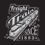 Silhouet van oude locomotief met wagens en het van letters voorzien Royalty-vrije Stock Foto's