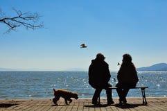 Silhouet van oude paarzitting op bank vóór oceaan Royalty-vrije Stock Foto