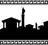 Silhouet van oude stad Stock Foto's