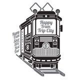 Silhouet van oude tram met de reisstad van de tekst gelukkige tram op wit Stock Foto's